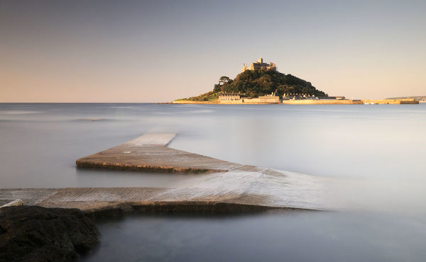 St Michael's Mount at dawn, Marazion, Cornwall, UK. September 2009