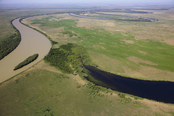 Aerial view of the meandering Saint George branch of the Danube river, Danube Delta