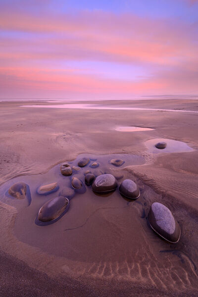 Low tide on Westward Ho! beach, tinged pink at sunrise. Devon, England, UK. February 2020