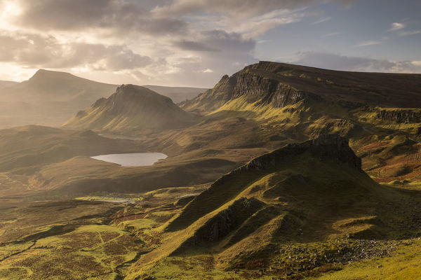 The Quiraing bathed in morning light, eastern face of Meall na Suiramach, the northernmost