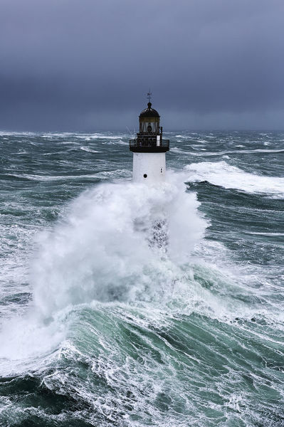 Rough seas at d'Ar-Men lighthouse during Storm 'Ruth', Ile de Sein, Armorique