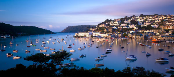 View of Salcombe and harbour from SnapeA's Point in the early morning light. Salcombe
