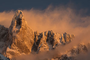 july 2019 highlights/aiguille du dru mountain evening sunlight chamonix