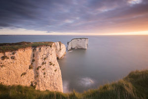 ross hoddinott/rf old harry rocks colourful sunrise looking