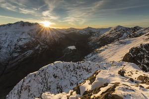 scotland big picture/sunset snow covered mountains view north west